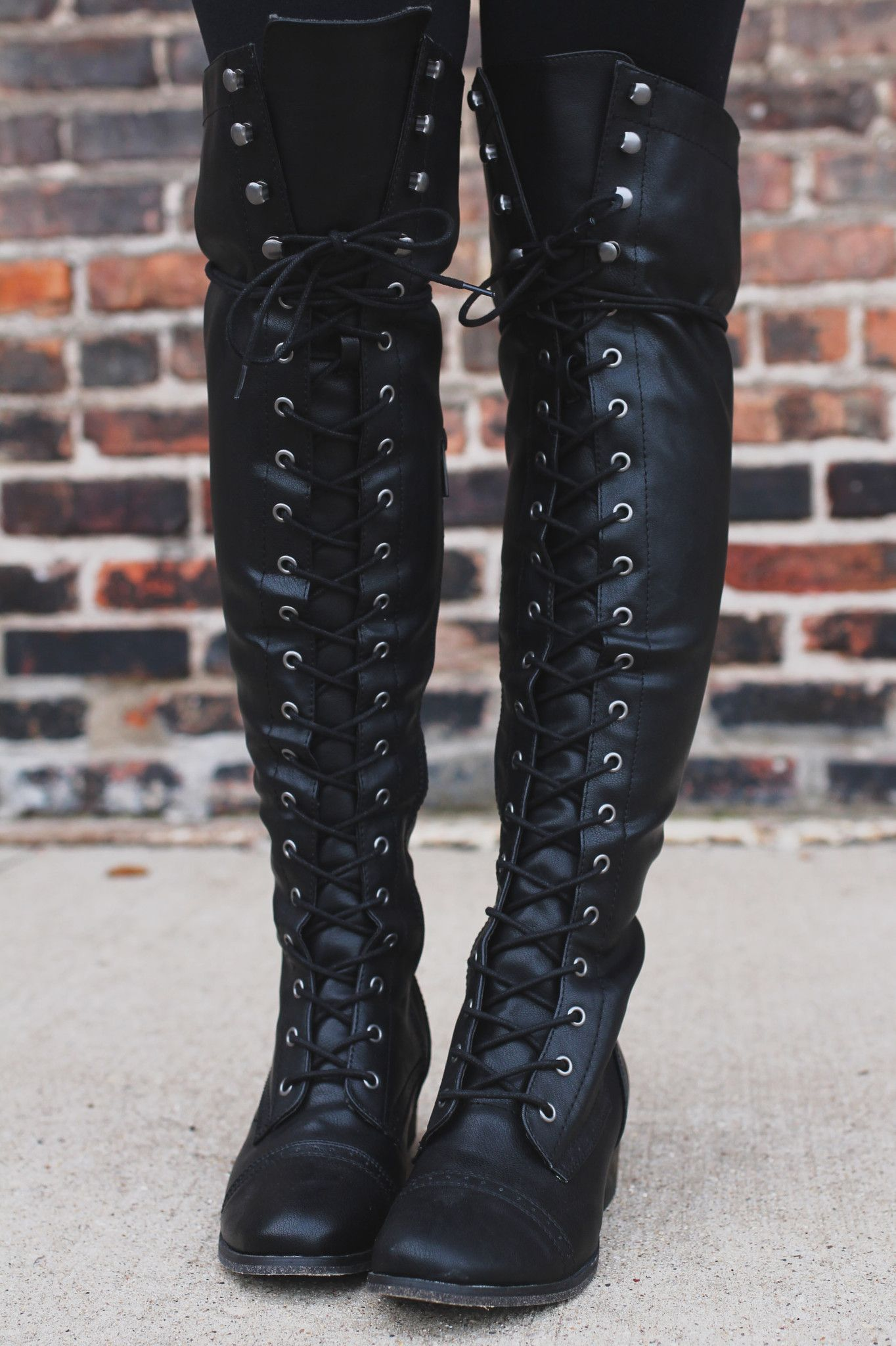 c07f854e88 Black Lace Up Tall Riding Boot – UOIOnline.com: Women's Clothing Boutique