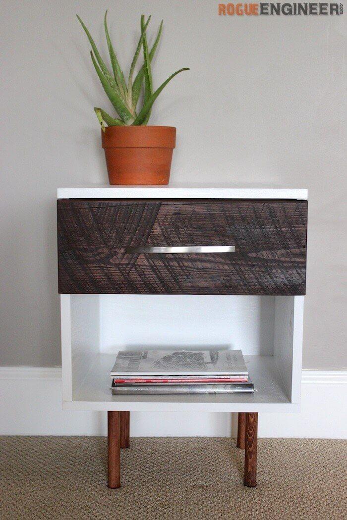 mid century modern side table free plans bedroom diy. Black Bedroom Furniture Sets. Home Design Ideas