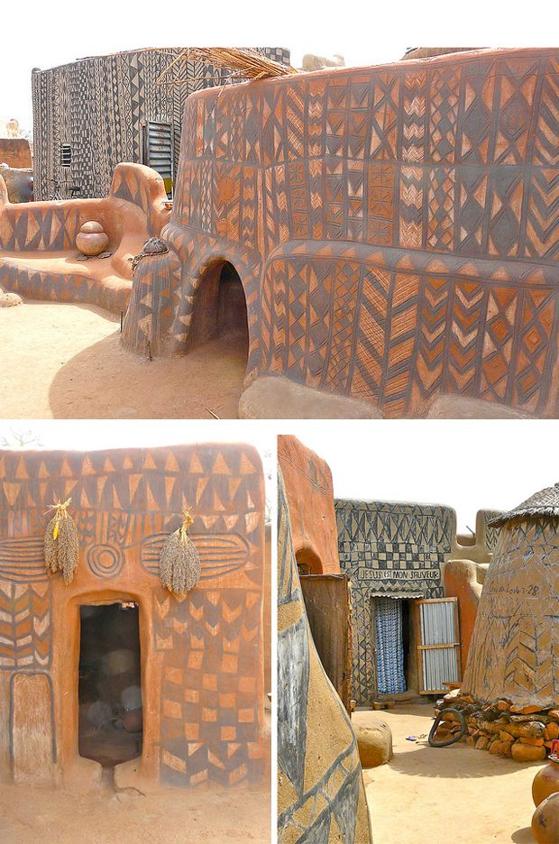 """Burkina Faso boasts a few simple gems, such as the village of Tiebele, renowned for its unique architecture...Dwellings are either square (for married couples) or round (for bachelors) and all elaborately decorated: black diamond patterns cover large areas of the reddish-brown walls. Drawings of snakes and crocodiles, both sacred animals, bestow protection""(Andrea Davoust)  Photos are by Rita Willaert"