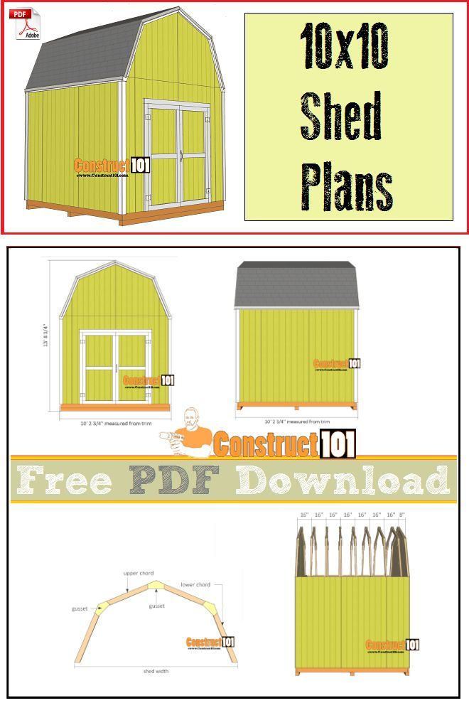 10x10 Shed Plans Gambrel Shed Pdf Download Construct101 10x10 Shed Plans Shed Plans Free Shed Plans