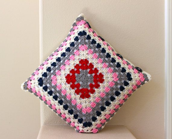 Granny square Cushion Cover Crochet cushion cover by Knit2Create, $40.00