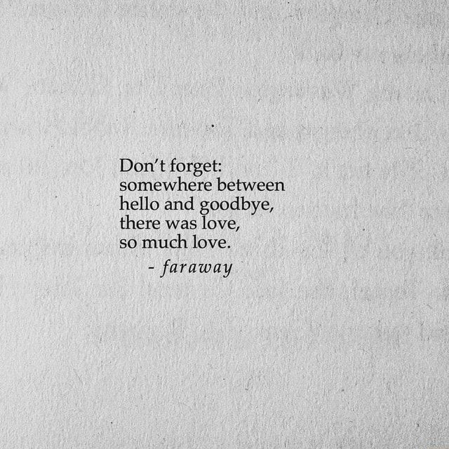 Don't forget: somewhere between hello and goodbye, there was love, so much love. - faraway - )