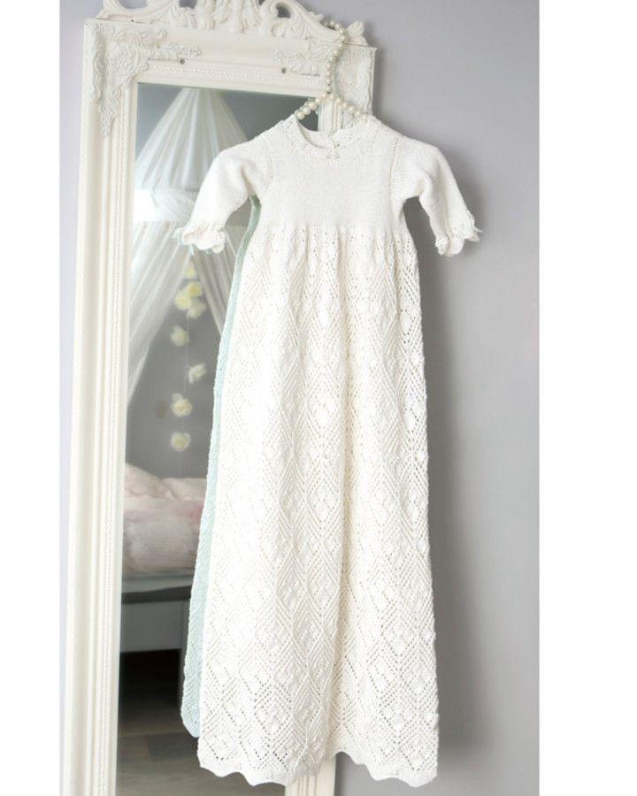 Knittingroom.dk - Strikkeopskrift Dåbskjole | Dåbskjoler DIY strik hækl | Pinterest | Craft