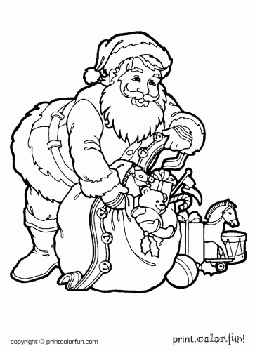Santa with a sack of toys printable coloring page | Coloring book ...