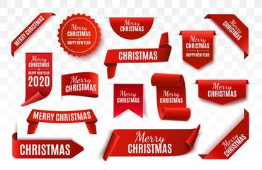 Christmas Tag isolated Red vector banner Merry Christmas and Happy New Year Label Vector illustration