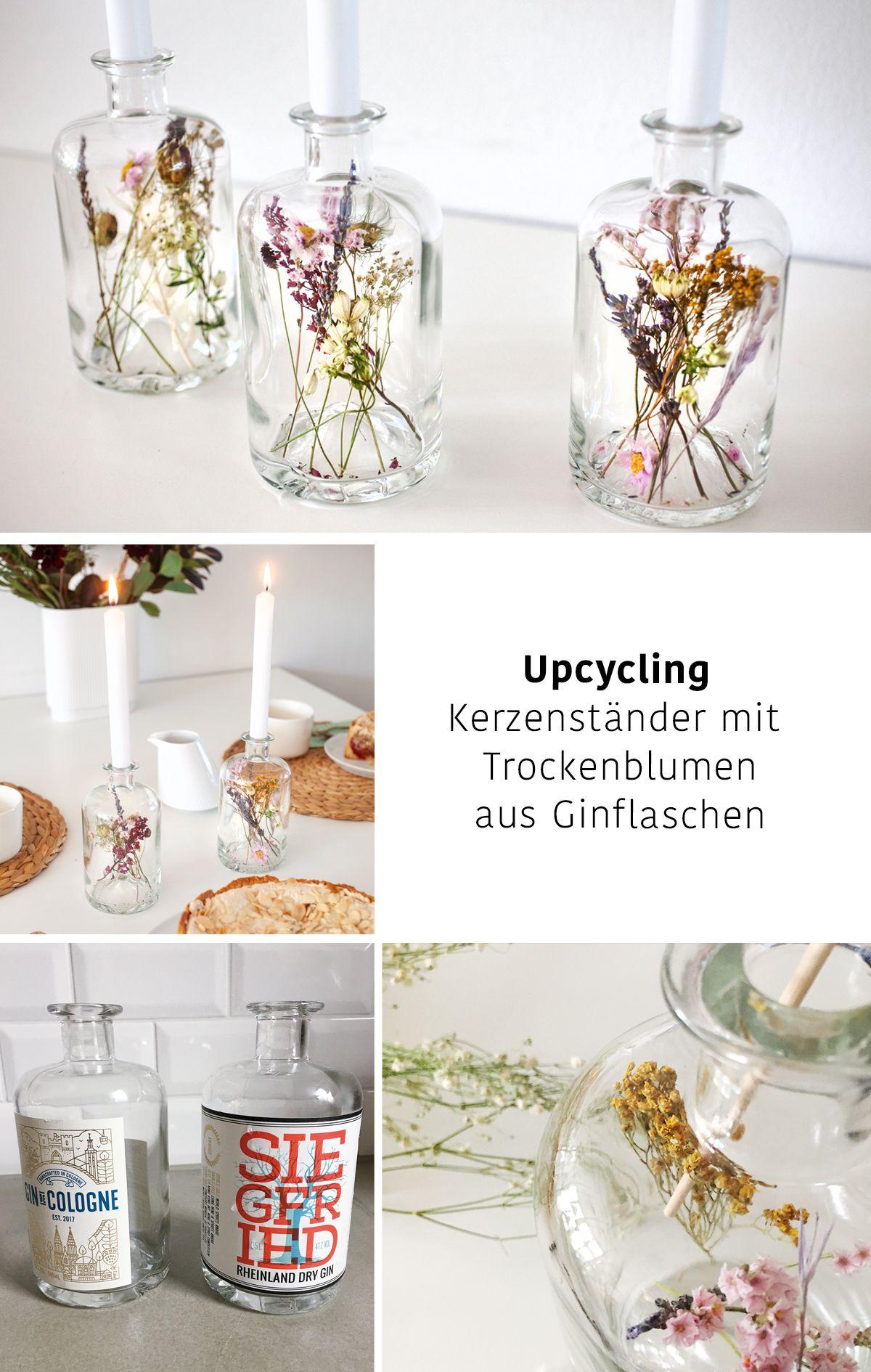 Trockenblumen-Kerzenständer an Gin