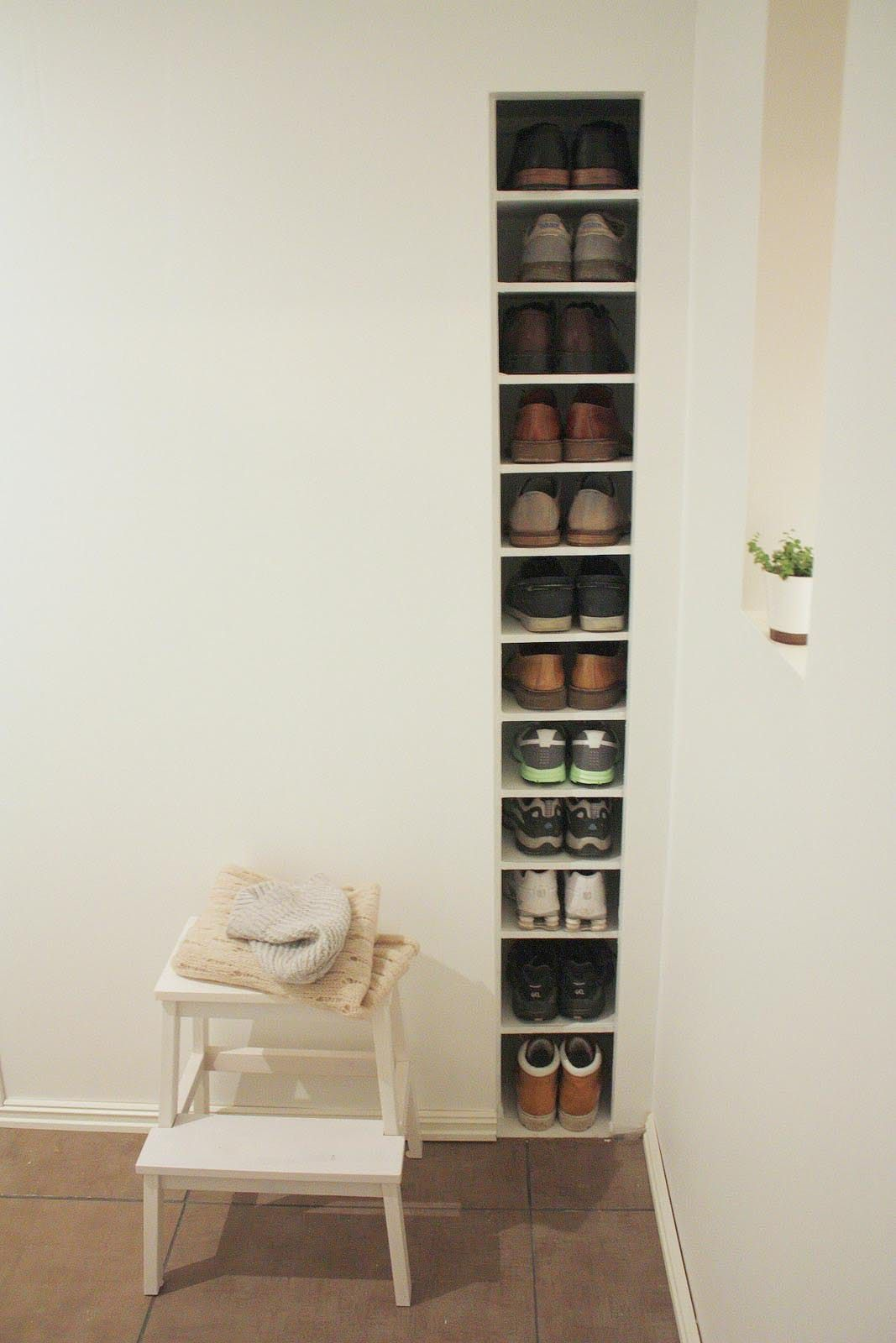 Space saving hallway furniture  Small BuiltIn Storage You Can Squeeze Between Wall Studs  Wall