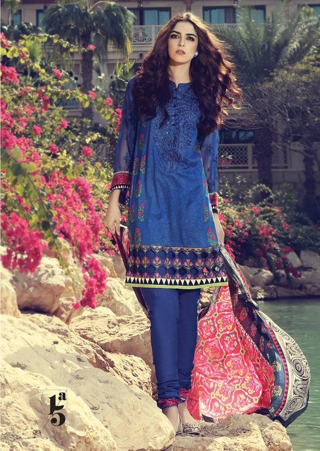 fe07229c30 Maria B Royal blue lawn suit with chiffon sleeves | Maria.B Lawn ...