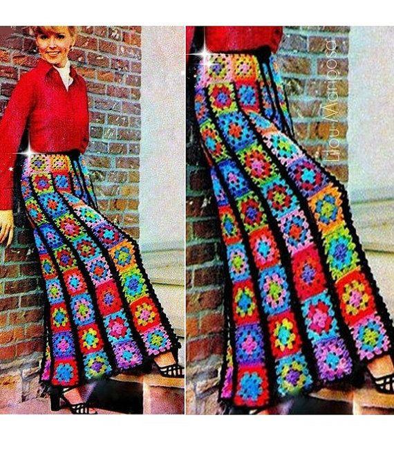 4b1d3f702 Crochet Pattern Vintage 70s Granny Squares Long Maxi Skirt-Boho ...