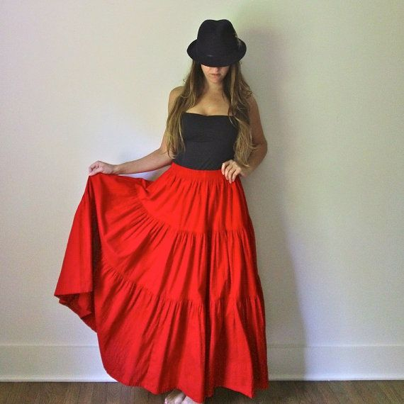 skirts long festival | Items similar to Tiered Bright Red Maxi ...