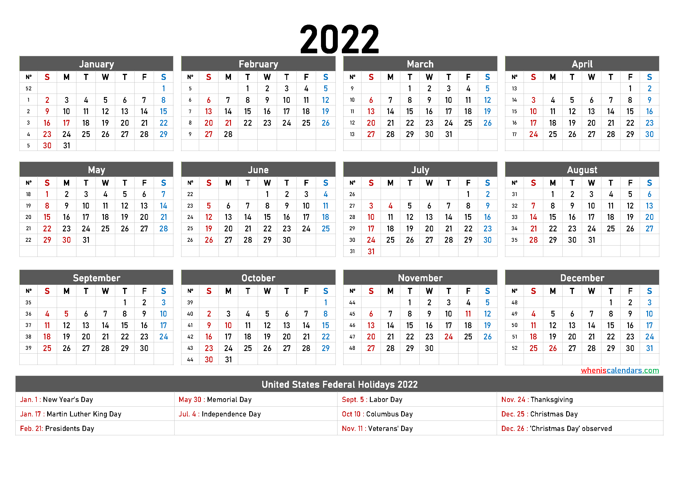20+ Holiday Calendar 2022 - Free Download Printable ...