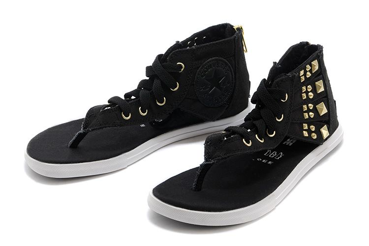 1c8aaf8b8586dc Black Converse All Star Roman Sandals Gladiator Zipper Studded Flip-Flops   converse  shoes