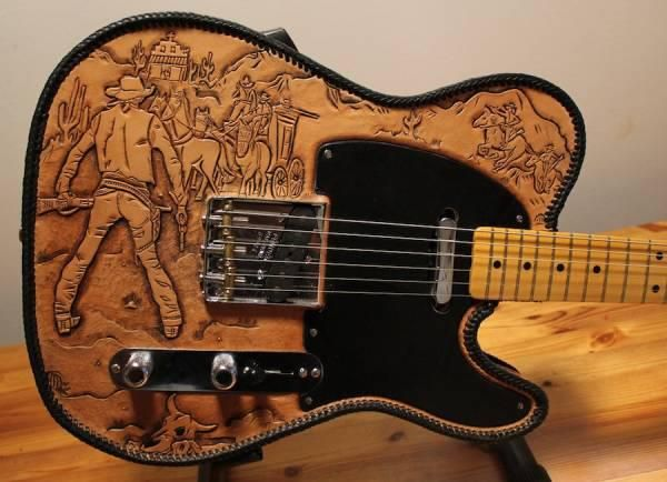 Engraved Leather Guitar Body Cover For A Telecaster Model