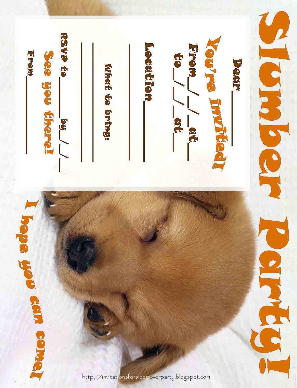 Free printable sleepover party invitations - hundreds of slumber ...