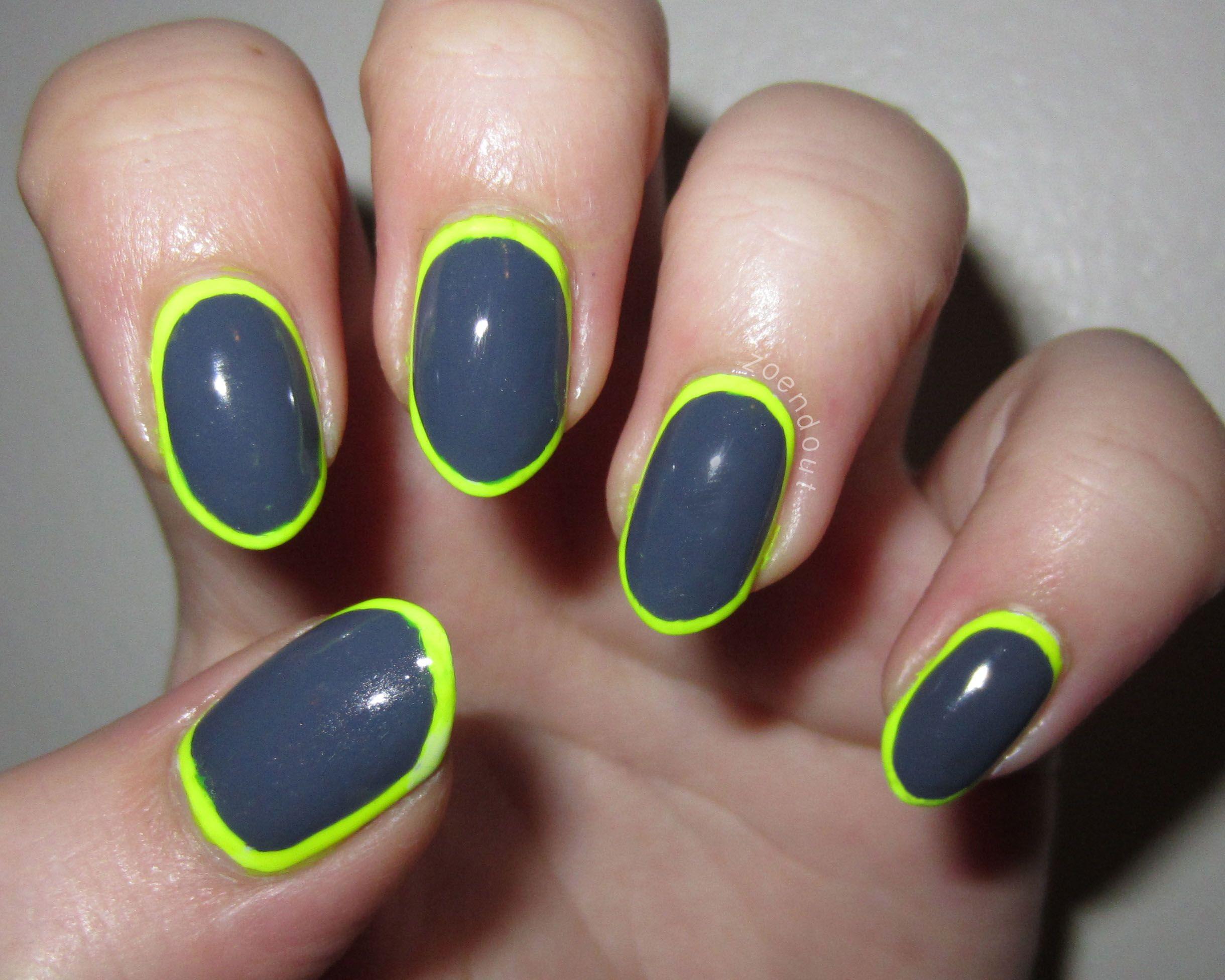 Neon Borders #nails #nailart #neon #border #outline #frame #gray ...