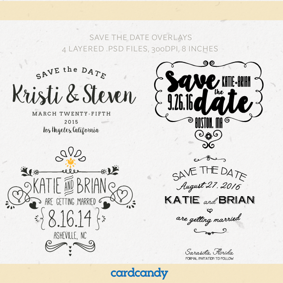 save the date card overlay templates by cardcandy on creativemarket