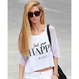 White Contrast Mesh Yoke HAPPY Print Crop T-Shirt -SheIn(Sheinside)