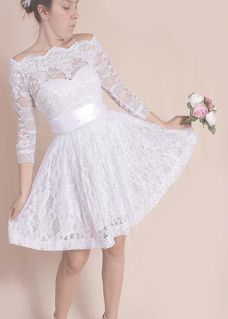 Bridal gowns for beach weddings  OffShoulder wedding lace dress short bridal gownreception dress