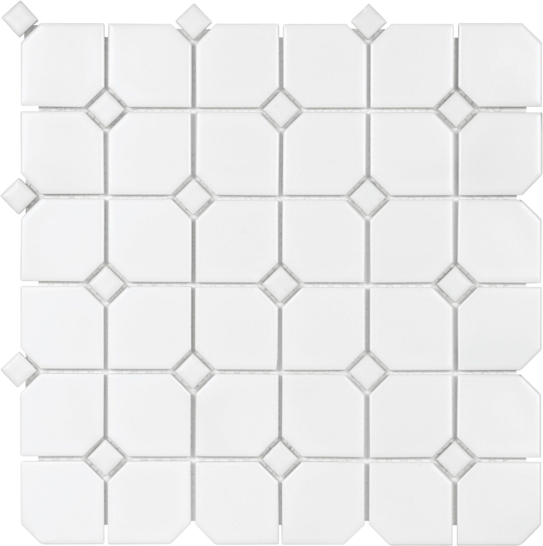 2 Octagon Mosaic White Mosaic Octagon White Soho Ceramic