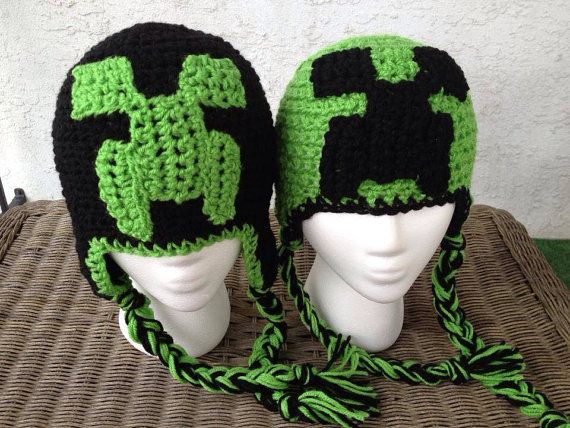Check out this item in my Etsy shop https://www.etsy.com/listing/165458845/creepy-creeper-monster-hat