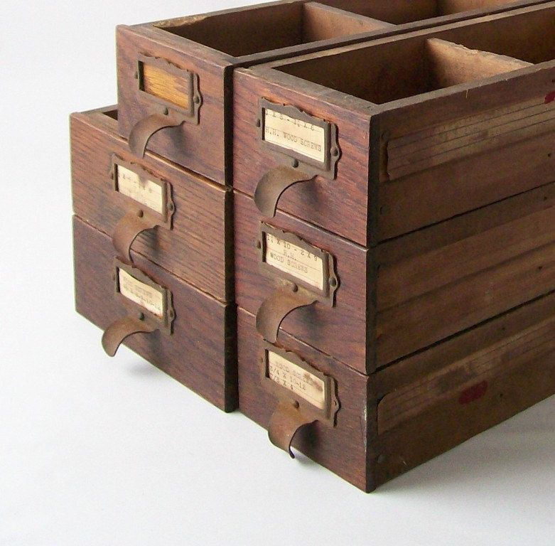 vintage storage drawer bin wood box hardware store display industrial rustic office chic home decor brown wooden box. $28.00, via Etsy.