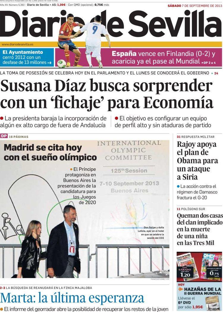 Los Titulares y Portadas de Noticias Destacadas Españolas del 7 de Septiembre de 2013 del Diario de Sevilla ¿Que le pareció esta Portada de este Diario Español?