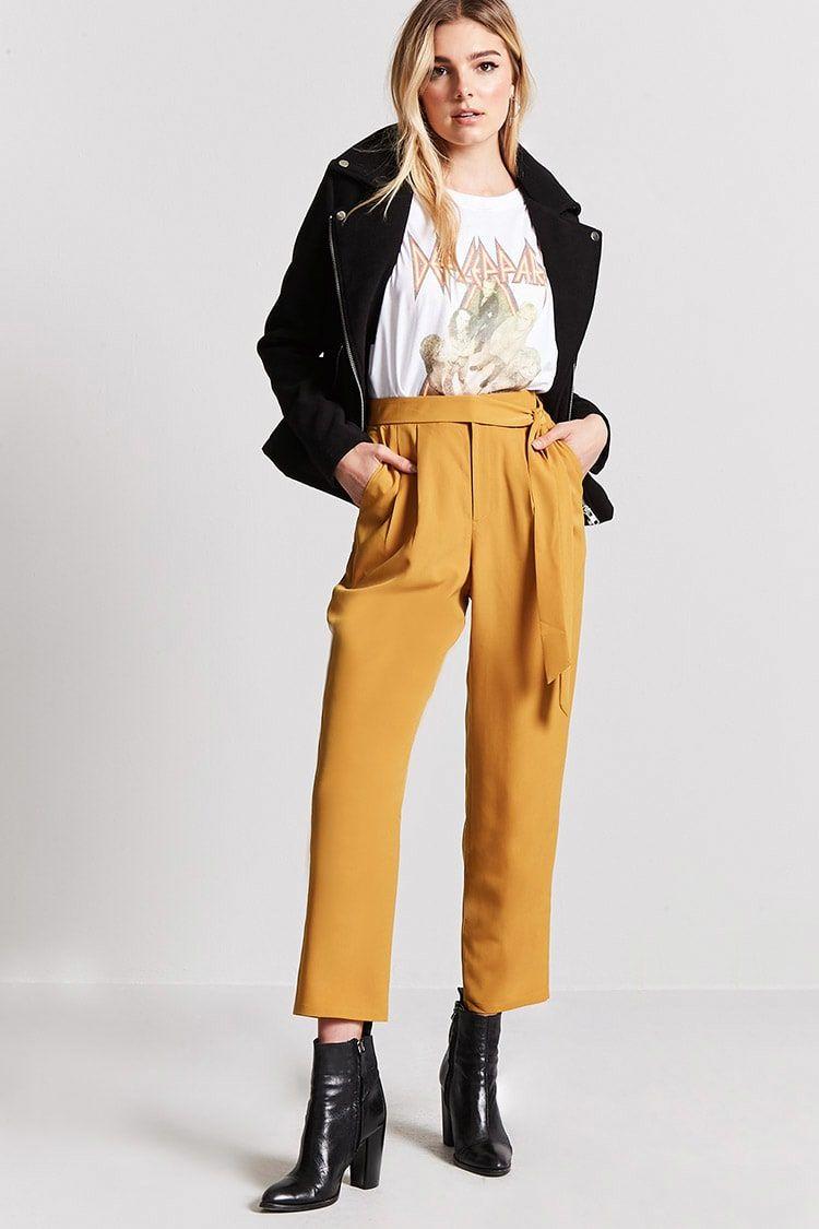 Pantalon Con Cinturon Mujer Pantalones Faldas Pantalones 2000210639 Forever 21 Eu Espanol Mustard Outfits Fashion Modern Fashion