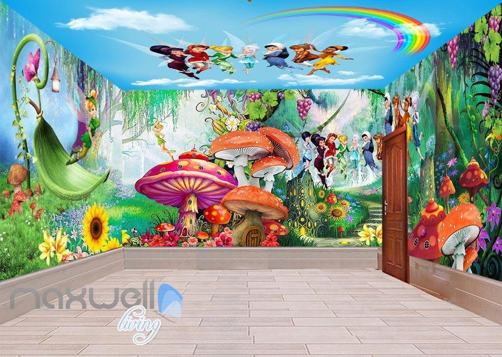 3d tinkerbell peter pan fairy rainbow ceiling wall murals