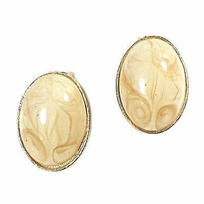 Peach Swirl Earrings Vintage Oval Lucite Gold Tone Clip On Retro e386