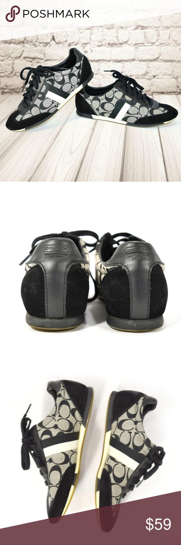 COACH Joss Black Suede Accent Logo Sneakers Black suede