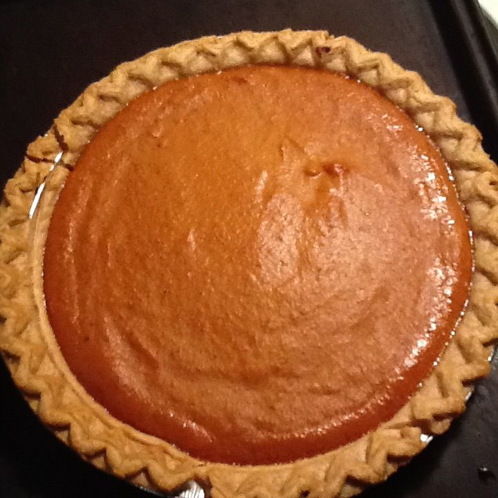 Ellen's Easy Pumpkin Pie  1 can pumpkin, 1 can sweetened condensed milk, 1 egg, 1 3/4 tsps pumpkin pie spice, l pie shell- Bake at 425 for 15 minutes then lower temperature to 350 for about 40 minutes.
