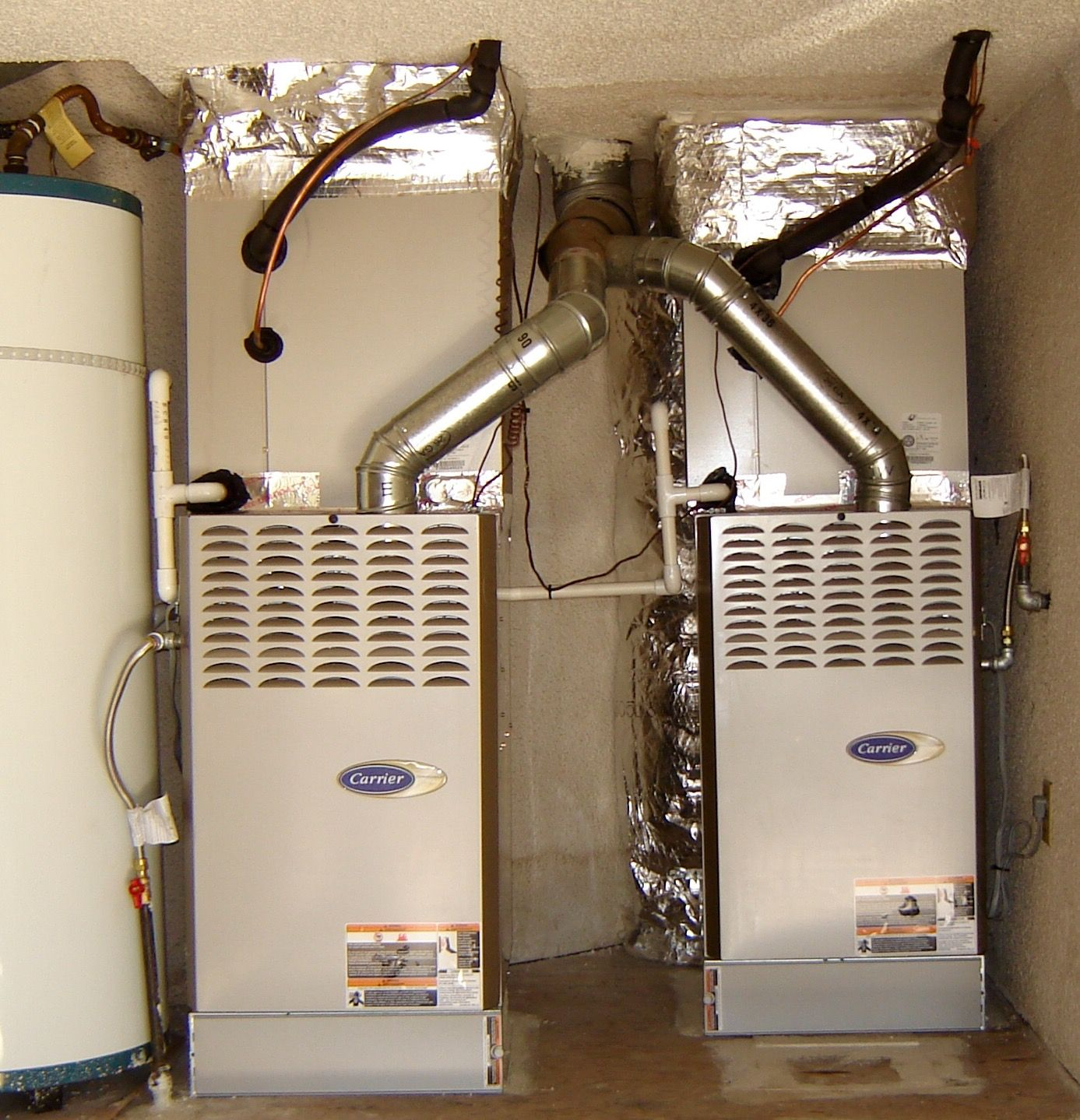 Carrier CTX Furnaces, dual system installation in garage