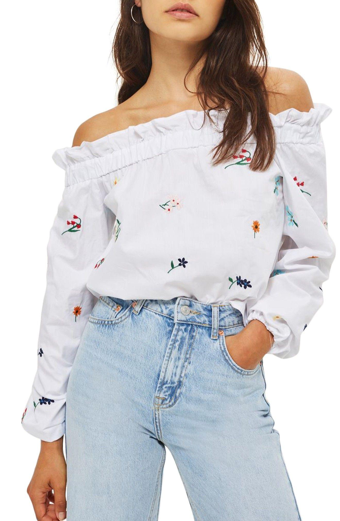 d7de716a19e05 topshop floral embroidered off the shoulder top