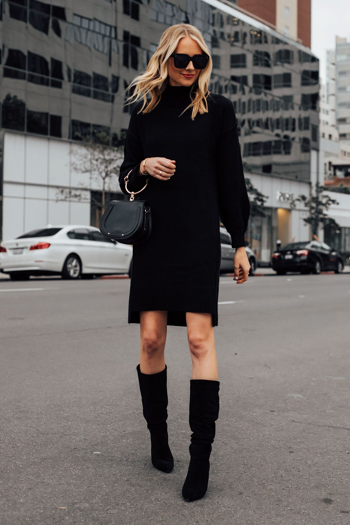 Blonde Woman Wearing Black Sweater Dress Black Tall Boots Black Clutch Handbag Fashion Jackson San Diego Fashion Blogge Fashion Jackson Fashion Fashion Outfits [ 1800 x 1200 Pixel ]