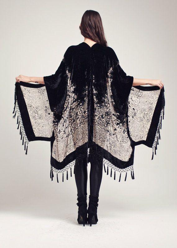 b0dc9b451 Black Velvet Fringe Kimono - Midnight Magic Classic | Kimono Spring ...