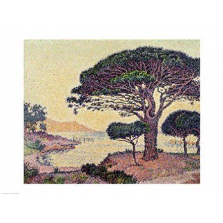 Umbrella Pines at Caroubiers 1898 Canvas Art - Paul Signac (24 x 18)