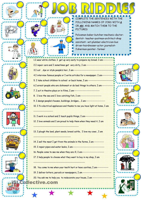 Job riddles 1 | English | Pinterest | Wortschatzübungen, Englisch ...