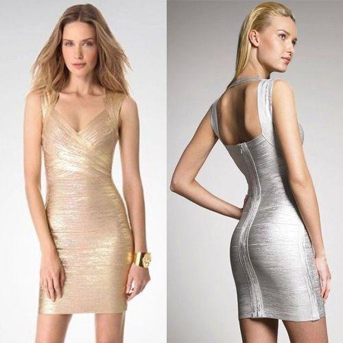 Metallics alike Sexy Women Celeb Hip-Wrapped Bandage Bodycon Clubwear Mini Dress #Unbranded #WrapDress #Clubwear