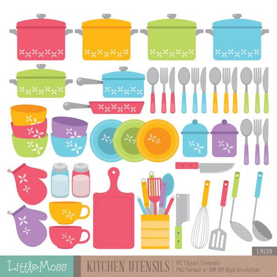 Kitchen Utensils Digital Clipart Etiquetas Lindas Clip Art