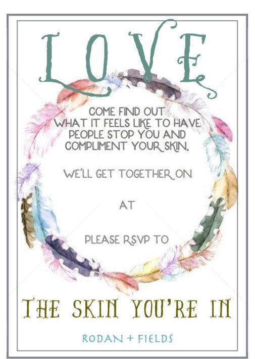 Rodan + Fields Party Pack - Boho Feather Invitations and Thank You - invitation card for get together