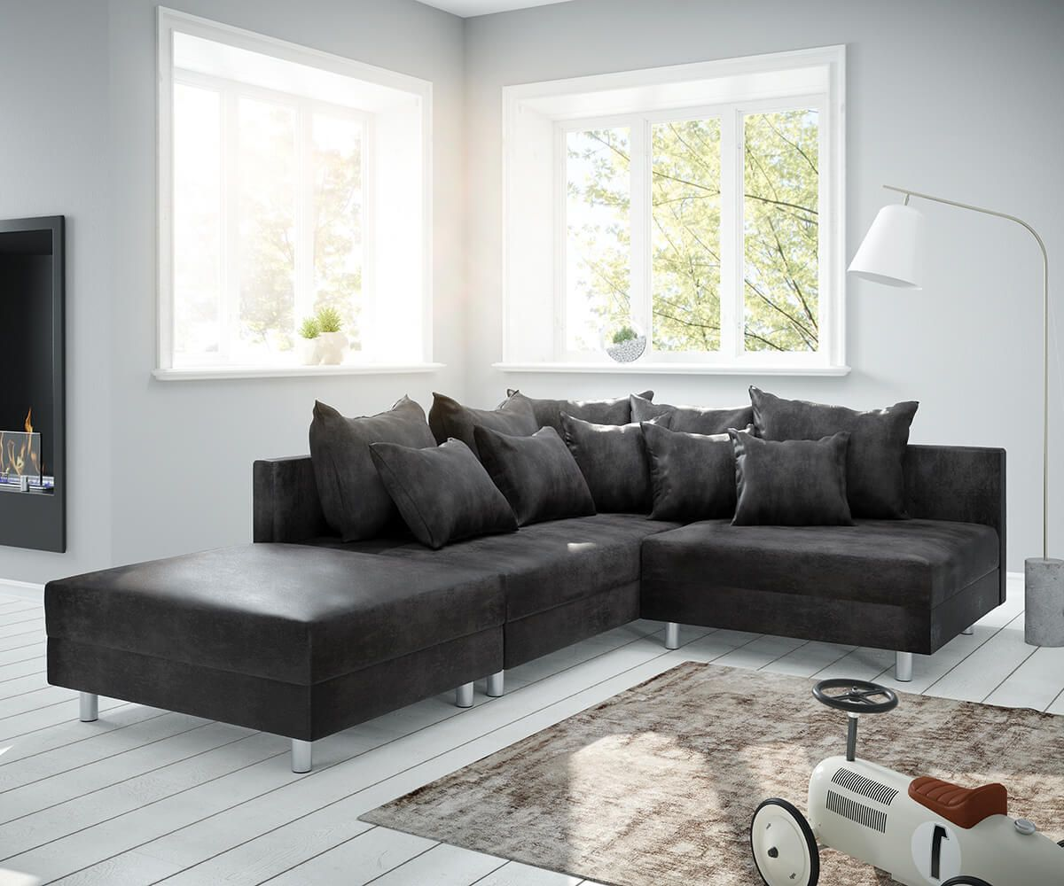 DELIFE Ecksofa Clovis Anthrazit Antik Optik Hocker Ottomane Links ...