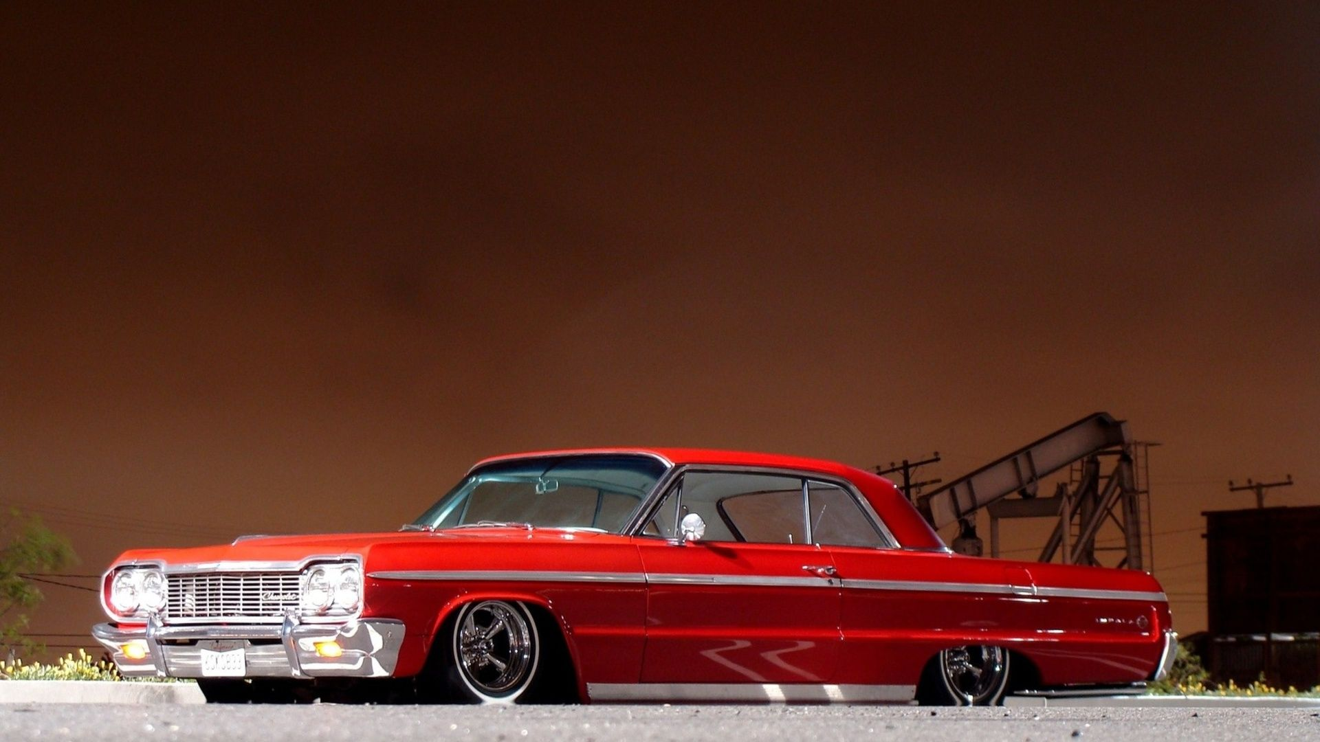 Chevrolet Impala Tuning Low Red Classic Muscle Cars Wallpaper ...