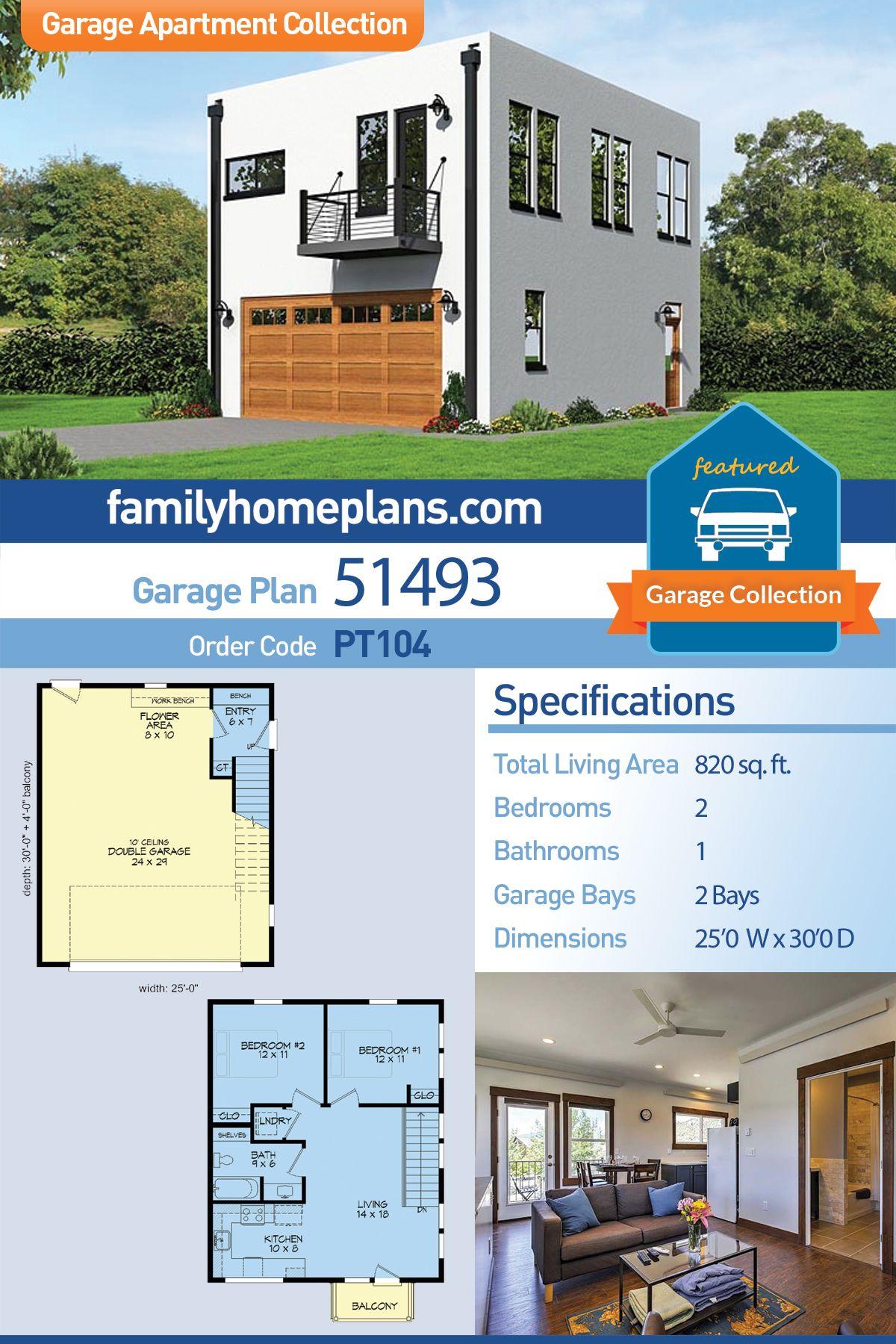 Modern Style Garage Living Plan 51493 With 2 Bed 1 Bath 2 Car Garage Garage House Plans Garage Apartment Plan Garage Design