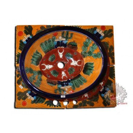 D co salle de bain vasque et carrelage mexicains en for Peindre evier ceramique