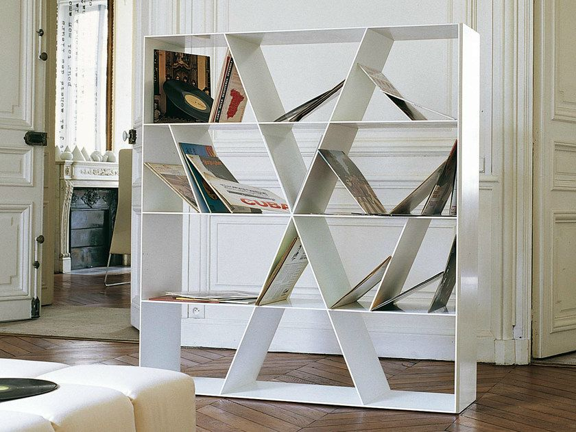 Open doublesided Corian® bookcase SHELF X by B&B Italia