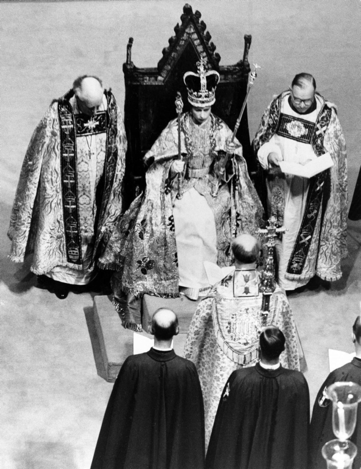 Queen Elizabeth II at her coronation ceremony, 1953