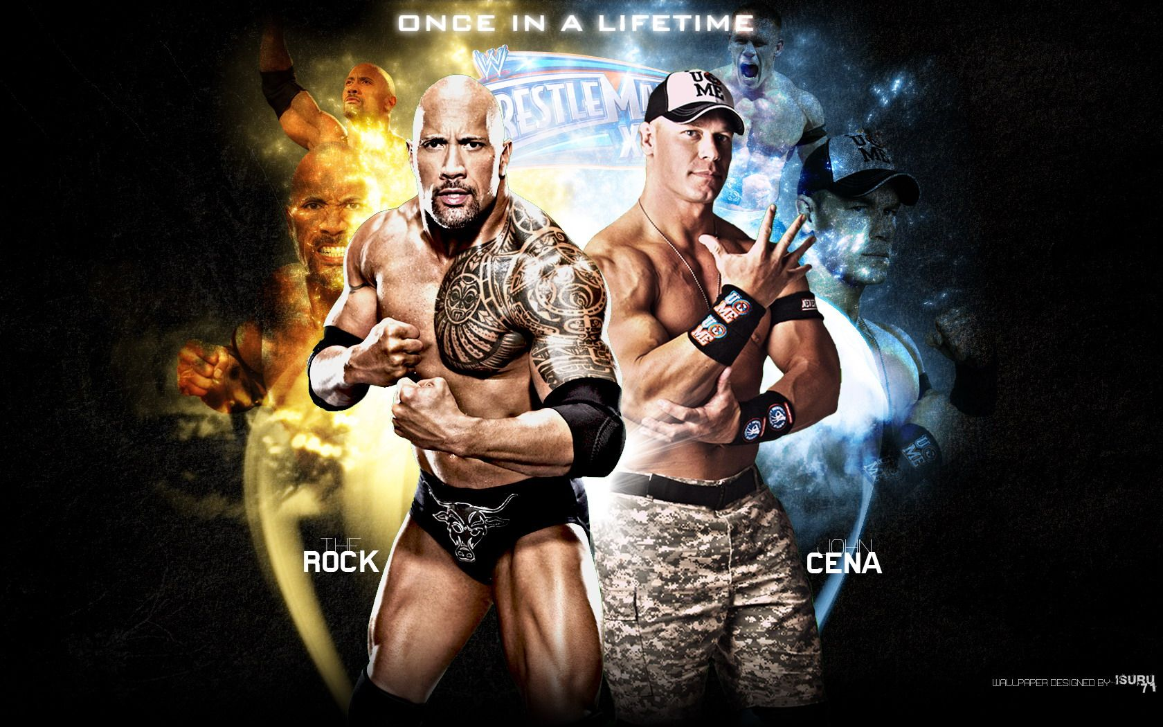 Wallpapers John Cena Wwe The Rock Vs Once In A Lifetime 1680x1050