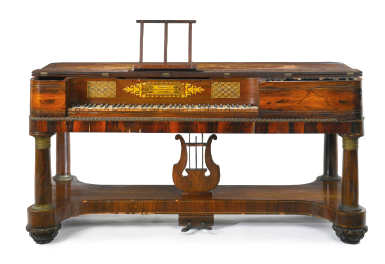 A Classical Rosewood and Ormolu Pianoforte, Robert and William Nunns, New York, Circa 1835 - Sotheby's