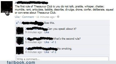 First rule of thesaurus club... | Facebook humor, Club ...