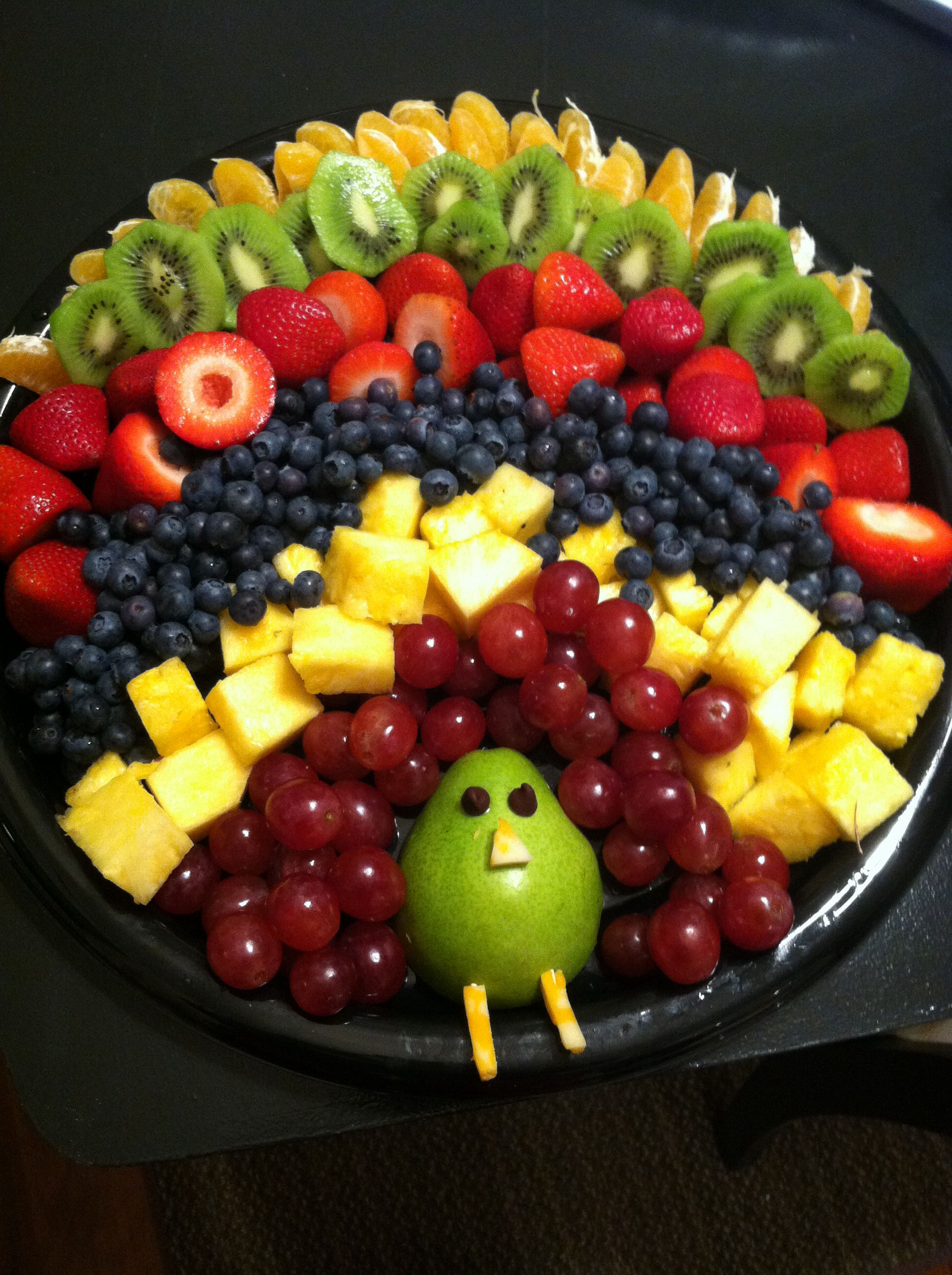 Perfect for a Thanksgiving party at school or a family celebration, this turkey fruit platter is definitely an idea to keep on hand this fall season. It's a great way to incorporate some healthy treats in .